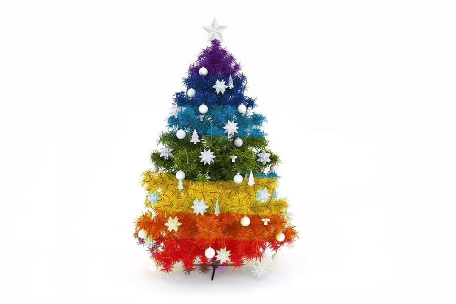 Pridefärgad julgran